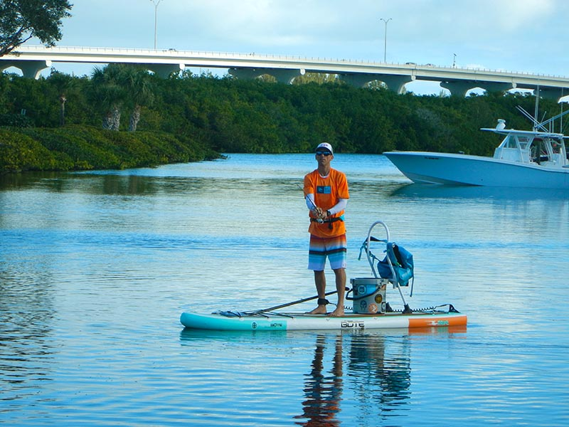 Is an inflatable sup for you coastal angler the for Inflatable fishing paddle board
