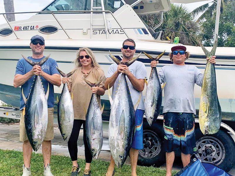 Dave Bobbett & company caught some tuna—and a mahi—offshore fishing near Sebastian Inlet.