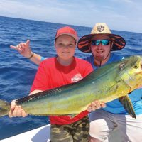 Junior angler nabbed a respectable mahi mahi offshore fishing with Fired Up Charters.