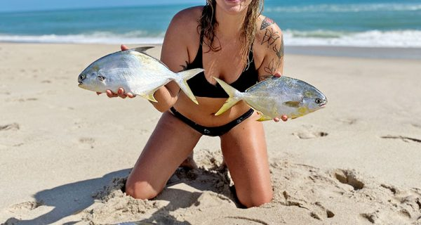 After a great day surf fishing, pompano was on the dinner menu for this lady angler.