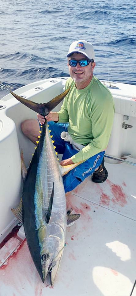 James Holdsworth hooked this sweet yellowfin tuna in the offshore gulfstream.