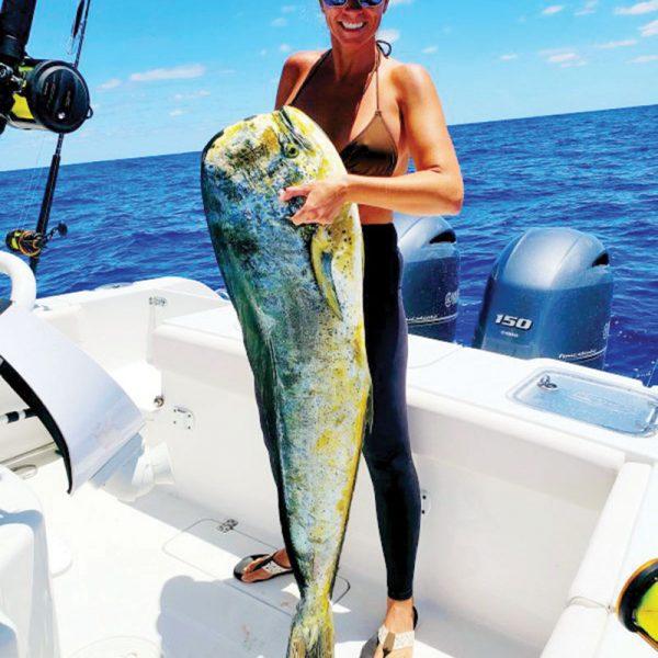 Jennifer Hodge hauled in this monsterous mahi fishing about 50 miles east of the Brevard coastline.