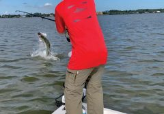 Zach Catlett hooked a nice birthday tarpon on a trip with Fineline Fishing Charters.