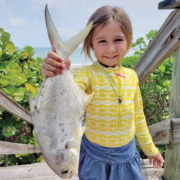 Carina Caravello caught herself a nice pompano in the Brevard surf recently. Great job, girl!
