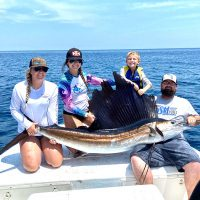 Kaytlyn, Katelin, Brantley and Ronnie hooked this nice 80-90 lb. sailfish out of Sebastian in 400ft. of water.