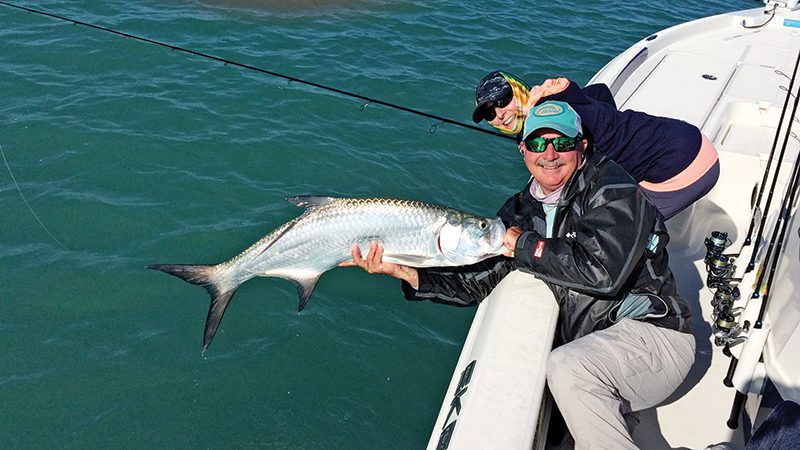 Tarpon are just one of the many species that will be found along the surf zones this month.