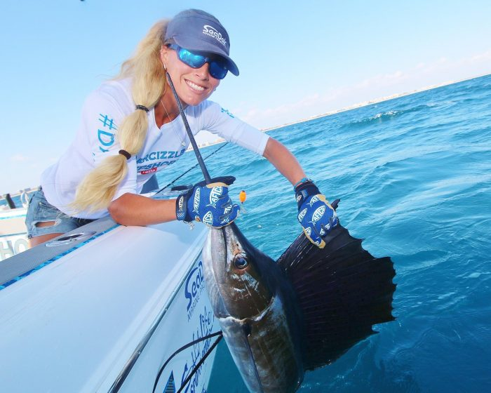 Darcizzle with a Boynton Beach sailfish caught kite fishing on a live goggle eye. Released safely. | Photo courtesy of Darcizzle Offshore