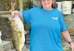 Monica from Ohio caught her personal best—another Talquin monster—with Fish Tallahassee Guide Service