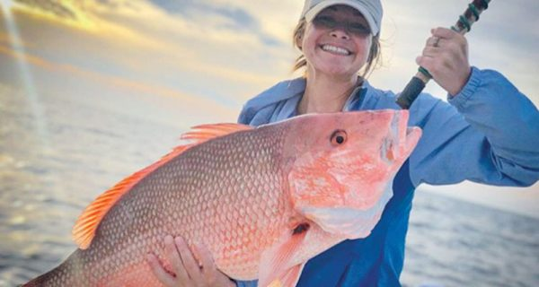 A nice snapper caught aboard Lion's Tale Adventures.