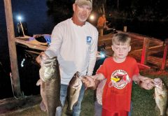 Barron Cox and son TJ with with some nice Talquin bass, with one over 8 lbs. that qualified for the Florida Trophy Program.