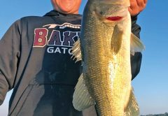 Caleb Straight with a nice bass caught while on a Lake Seminole Fishing Adventure!
