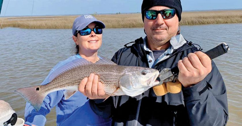 Dan & Jessica Susich duked it out on Capt. Kens boat. Tough conditions but caught Redfish!