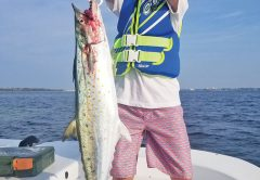 Dannon Dalton had his hands full with this monster spanish mackerel fishing on the Adrenaline boat.