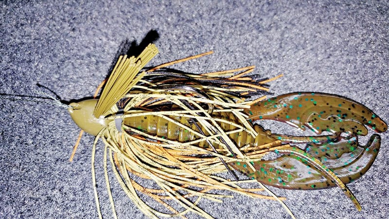 Gambler Double Weed Guard jig tipped with a Megga Daddy Craw.