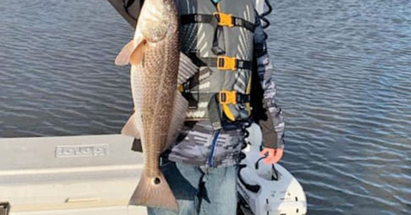 Here's Brayden Sullivan braving the wind and cold for some redfish action!