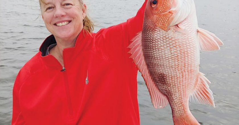 Joan with a fine bay snapper.