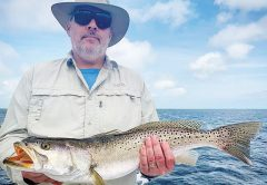 John Breffle with a 28 inch gator trout caught and released in St. Joe Bay.