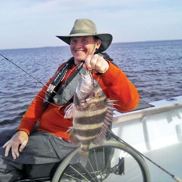 John David with a nice sheepshead aboard Natural World Charters with Capt. Chester Reese.