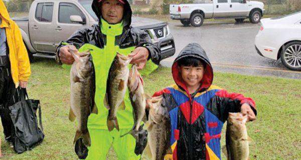 Long Bach and his son Ian won a recent Reel Money Team Trail tournament on Deerpoint Lake with this fine winning bag of bass weighing in at 12.84 pounds!
