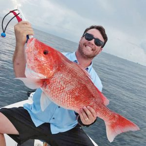 Preston with a stud nearshore snapper.