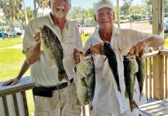 Red Holland and Frank Williams with their winning bag of 14.21 lbs and their 5.84 lb lunker in last month's Reel Money Team Trail event.
