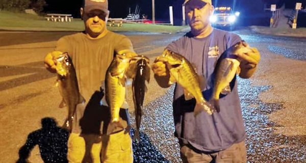 Ryan Lemieux & Keith Richardson with their 9.92 pounds winning sack of Deerpoint bass. These guys have won all but one Tuesday Night Shootout event.