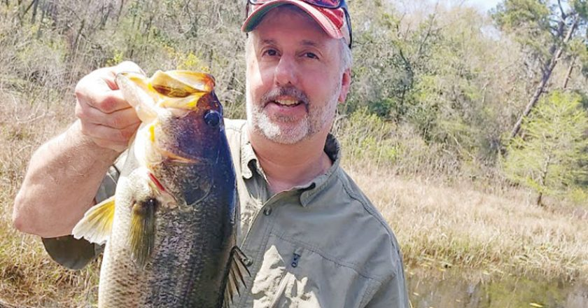 Scott caught and released this spawning Talquin bass on a recent guided trip with Capt C-note.