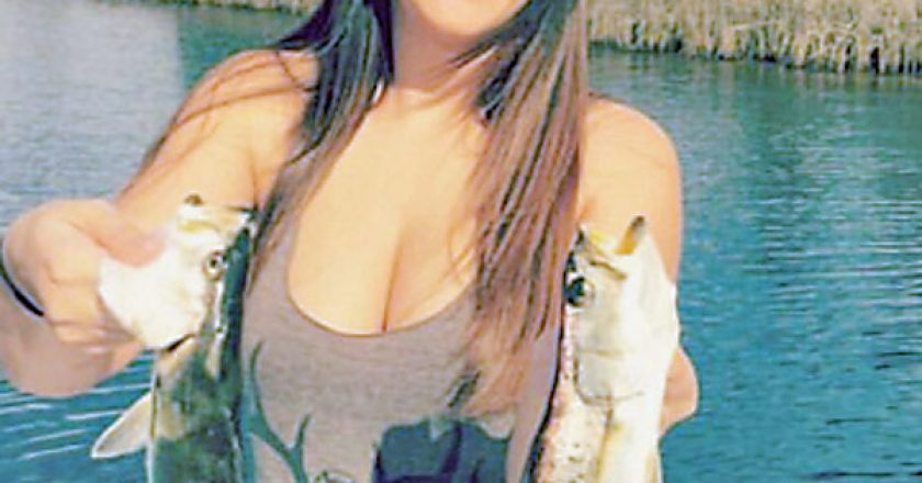 Taylor Wheeler with a pair of early season trout.