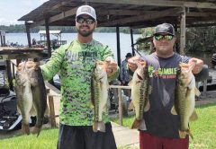 Tyler Suddarth and Steve Young with a nice Talquin bag in the recent Gambler Lures no entry fee tournament.