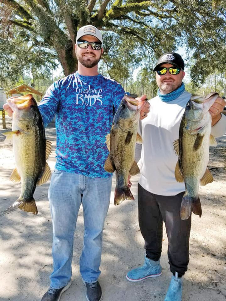 Tyler Suddarth and Steve Young with their 3-fish limit weighing in at 13 pounds of Seminole bass winning this West Side Team Trail event.