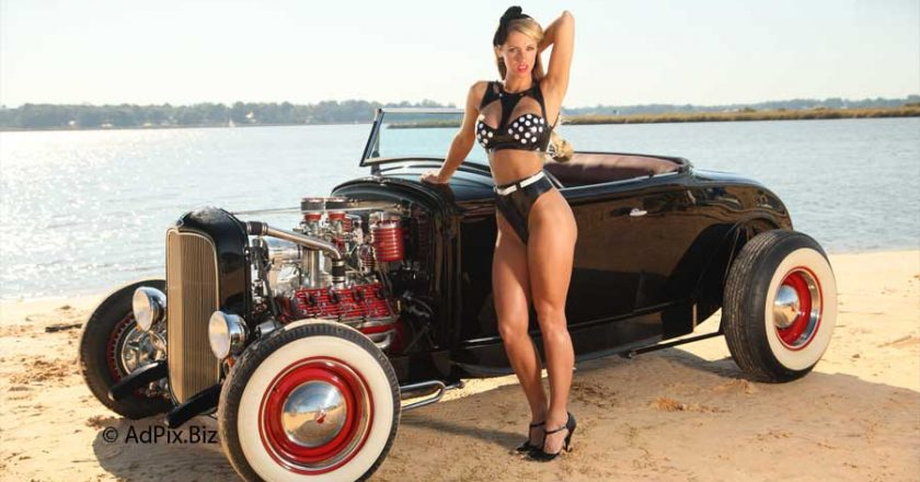 Hot Rod, Pinup model, beach, veterans, rockabilly