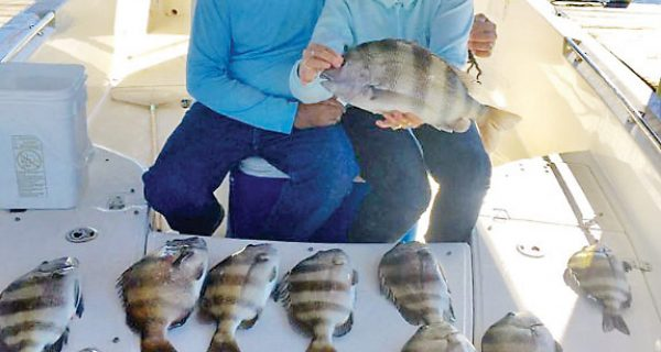 Yonnie and Lea Patronis of Panama City with a great haul of sheepshead.