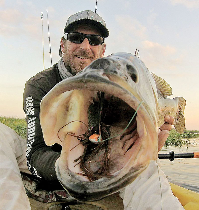 Rod Salser with a big bass he caught on Gaterbait's hand tied jig.