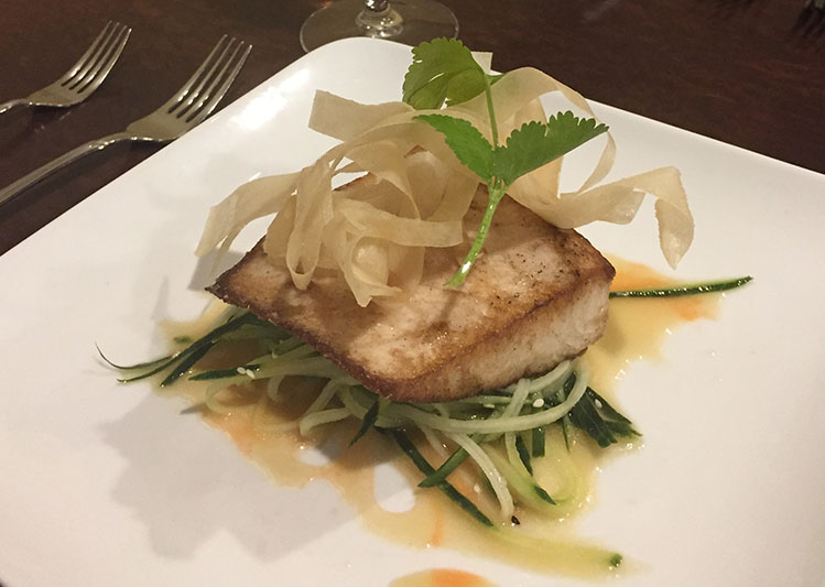 Wok fired cobia with miso sake vinaigrette and cucumber for Cobia fish recipes