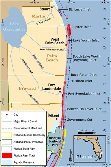 Map Of Southeastern Florida Coast.Intro To Coral Reef Resources In Southeast Florida Coastal Angler