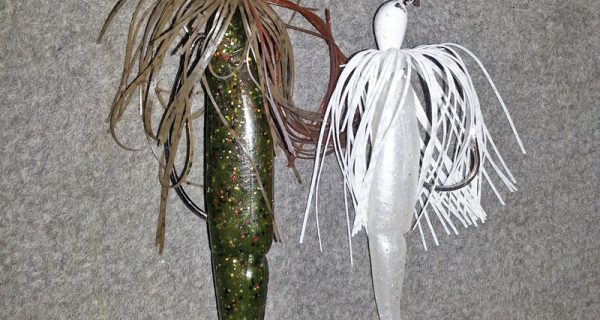 A Gambler Big EZ swim bait and a bladed jig tipped with a Gambler Little EZ