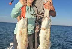 Lindsey and Bryan, from Kentucky, doubled up on their first ever redfish caught in St. Joe bay