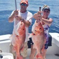 Mike and Stephanie Hobbs of Panama City with some big snapper