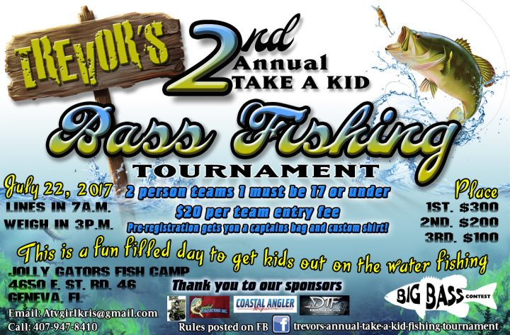 2nd annual trevor 39 s take a kid bass fishing tournament for Youth fishing tournaments near me