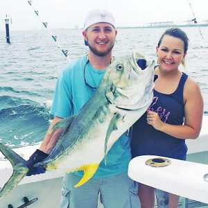 Monster jack crevalle caught on an inshore trip with Fishing Headquarters.