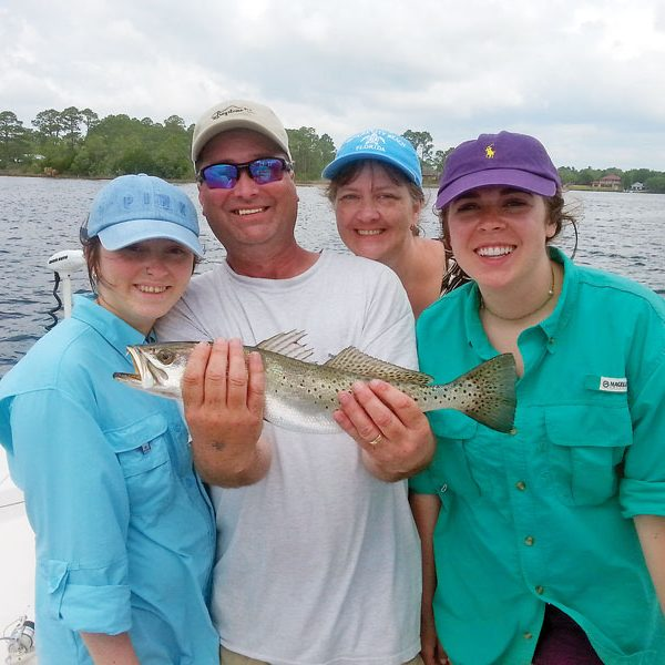 Family fun in East Bay for trout with Baily, Gene, Jesse & Melony from Little Rock, AR.