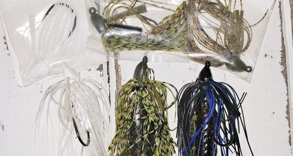 Gambler Lures Southern Swim Jig and Booyah Boo Jigs tipped with a Gambler Burner Craw, Big Bite Baits Fighting Frog and a swimbait.