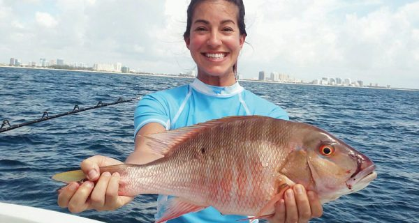 Nice mutton snapper caught by this fishergal aboard Catch My Drift.