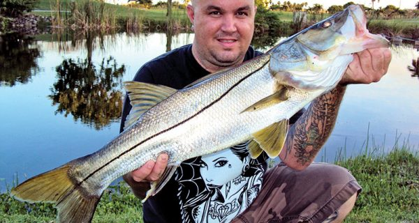 Ryan George with a beautiful freshwater snook.