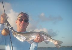 Johnny catches a bunch of nice trout on a recent trip with Capt. Mark Wright