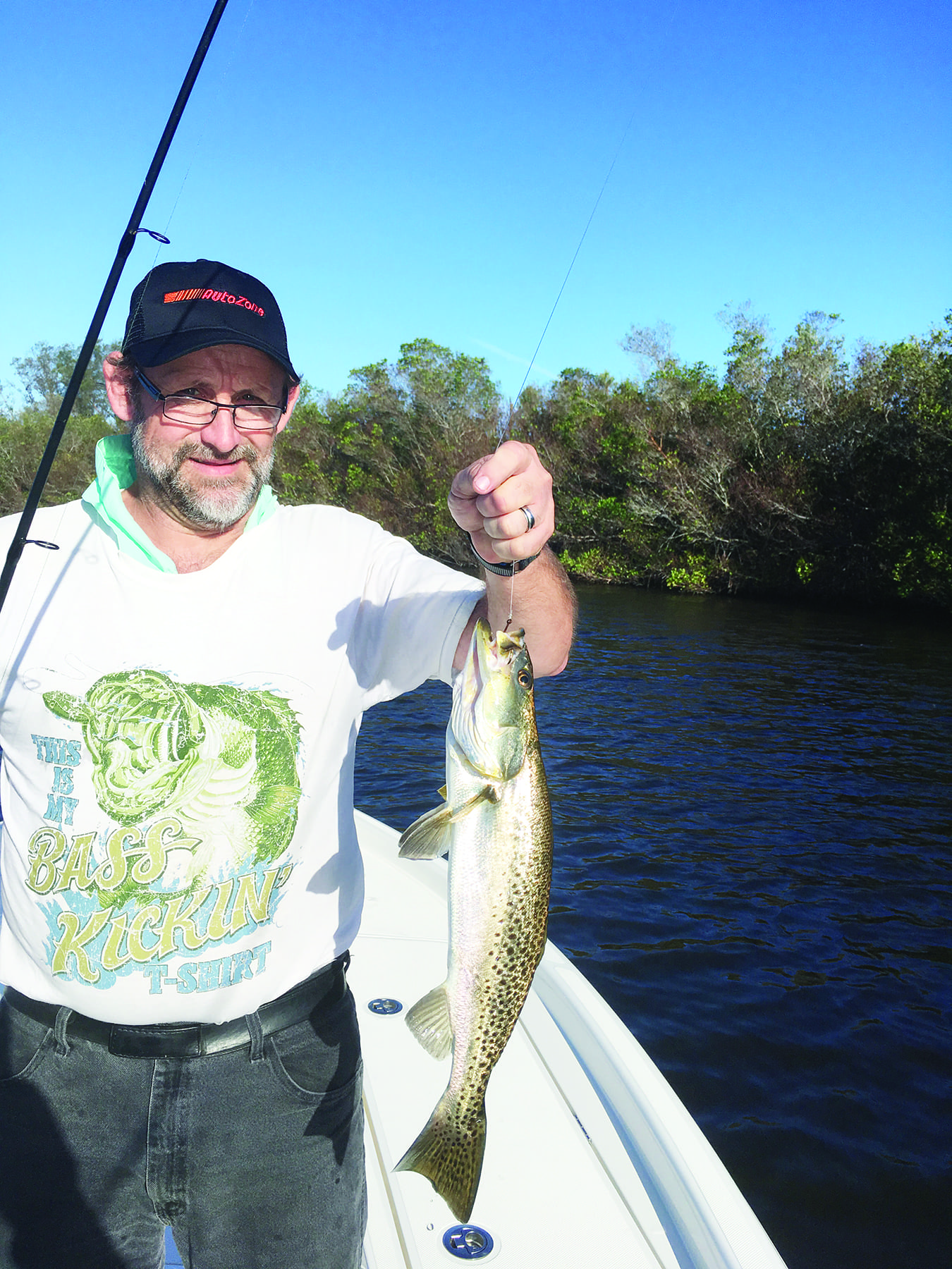 Speckled trout are a common catch when anglers can find baitfish gathering near mangroves.