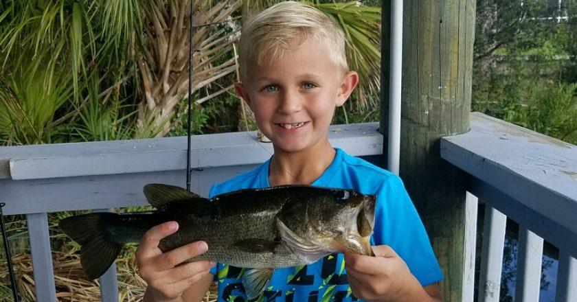 Greyson Christie, age 9, with a nice bass.