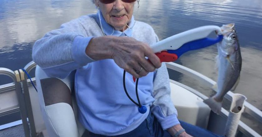 Mrs Helen Riley at age 91 the eldest person to fish with Capt Troy