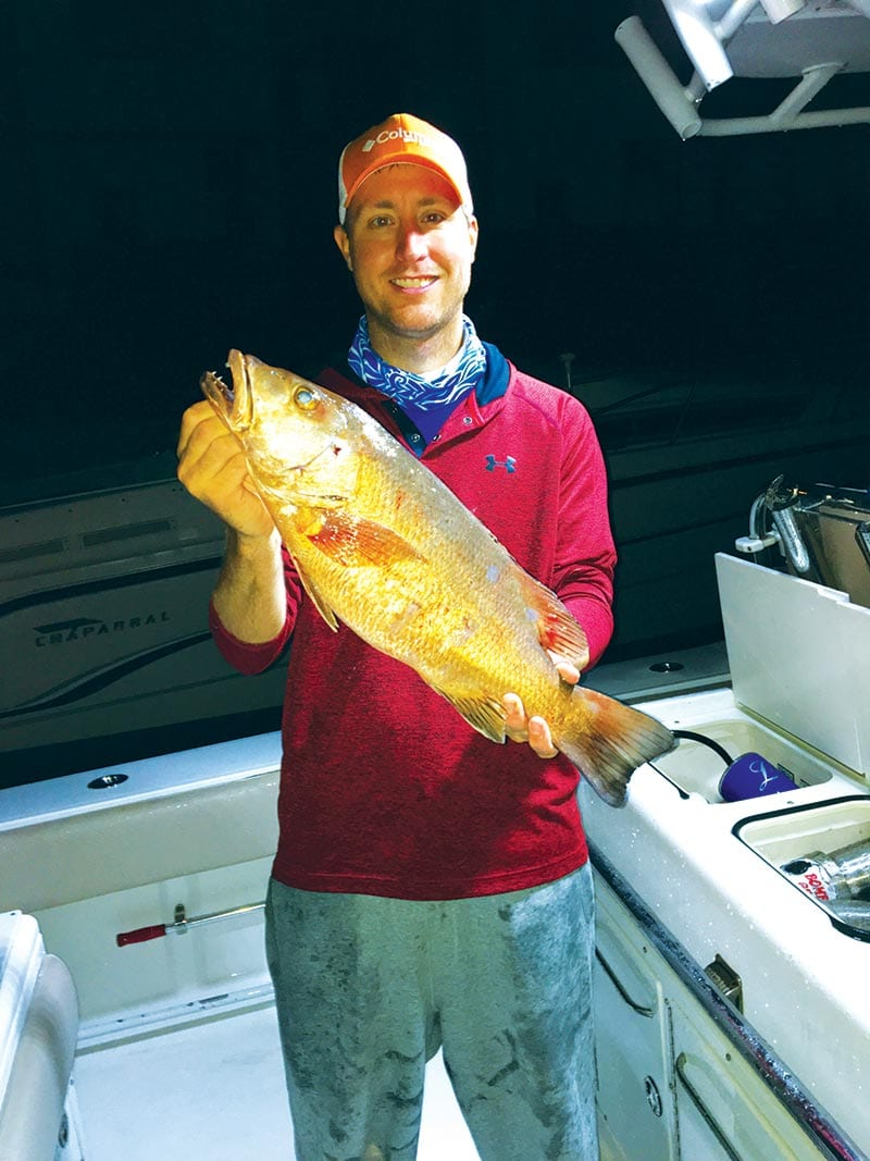 Joel Sabin with his first speared cubera snapper.
