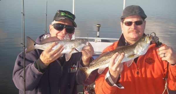 Bob and Mark had a great time catching spotted seatrout and redfish on a recent trip with Capt. Mark Wright